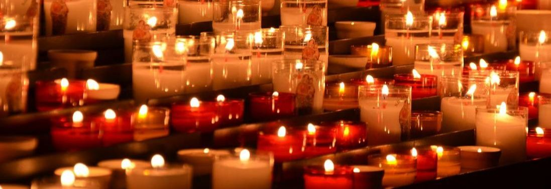 Close up of prayer candles at a Church